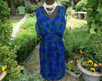1960s Dress Blue Sculptural Goddess by Kay Martin Chicago / Vintage Dress