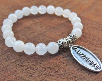 Snow Quartz Bracelet, Gemstone Bracelet, Beaded Bracelet, Chakra Bracelet, Healing Bracelet, Yoga Bracelet, Wrist Mala