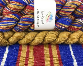 Wonder Woman with Gold Heel & Toe - Hand-Dyed Self-Striping Glitter Sock Yarn