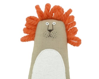 Small lion plush doll, stuffed animal, miniature lion soft sculpture, Poosac