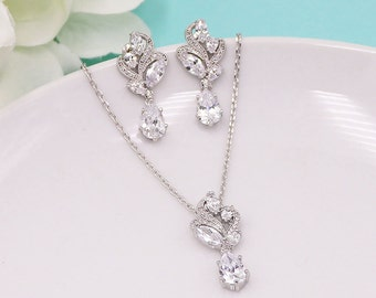 Wedding Jewelry Set, pear cubic zirconia CZ jewelry, silver crystal wedding necklace set, bridesmaid jewelry, Bailey Jewelry Set