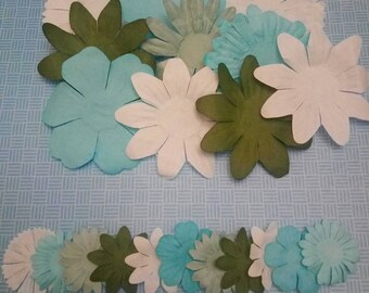 A-003 * SET OF 21 FLOWERS SCRAPBOOKING PAPER EMBELLISHMENTS