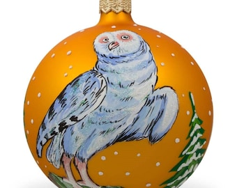 "4"" White Owl by Tree Glass Ball Christmas Ornament"