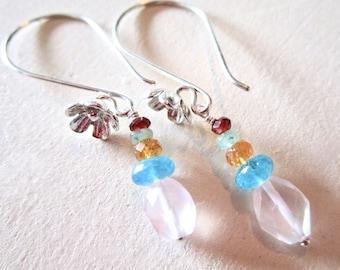 Faceted Gemstone Tiny Belle Fleur Earrings - Sapphire Aquamarine Garnet Apatite Sterling Silver - Flowers - Petal - Etsy Jewelry - catROCKS