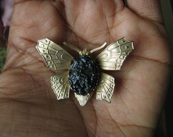 Vintage Gold Tone Lucite Duzy Butterfly Pin, Vintage Butterfly Pin, Vintage Butterfly Brooch, Vintage Gold Butterfly Pin, Butterfly Jewelry