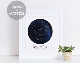 Custom Framed Constellation Map, Father's Day 2018, First Anniversary Gift, Star Print, Engagement Gift, New Baby Gift, Celestial Wall Art