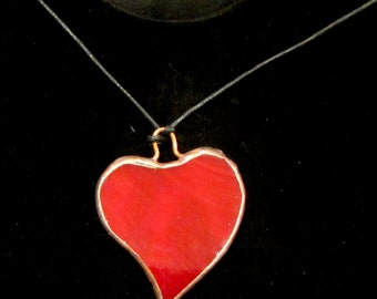 Stained Glass Heart Pendant. Handcrafted, made with traditional Tiffany techniques. Nice gift on Valentine's Day, Mothers Day Gift