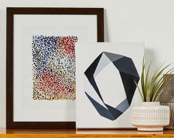 Original Art Print, Geometric, Acrylic, Contrast, Black, White, Blue, Grey, Blue-grey, Dallas, Gallery Wall, Abstract, Home Décor
