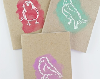 Sketched Birds Journal - Bird Journal - Hand Stamped & Embossed A6 Journal Pocket Notebook made from 100% Recycled Paper
