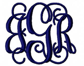 Fancy Script Interlock 1.5 inch high font upper and lower case