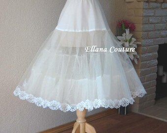 Tea Length Crinoline with Floral Trim. Medium Fullness Petticoat. Available in White, Ivory, or Black