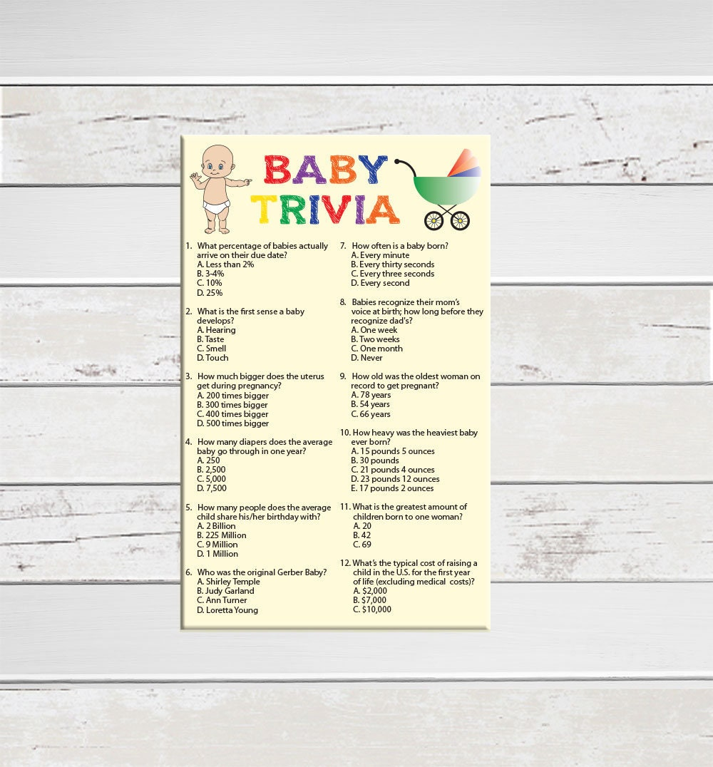 Baby Trivia Baby Shower Game Gift Tracker Baby in Diaper