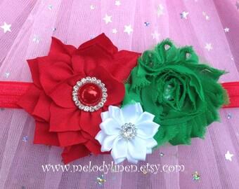 Christmas headband holiday headband, christmas hair clip, holiday hair clip, red headband,green headbnad,new born headband toddler headband