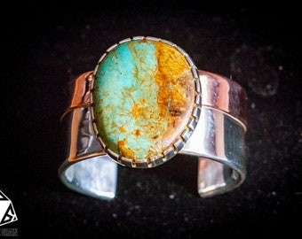 Women's Sterling Silver Copper Turquoise Cuff, Wide Cuff, Turquoise Cuff, Blue Green Turquoise, Kingman Turquoise, Handmade