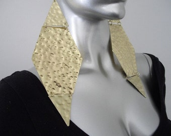 Gold Long Triangle Earrings