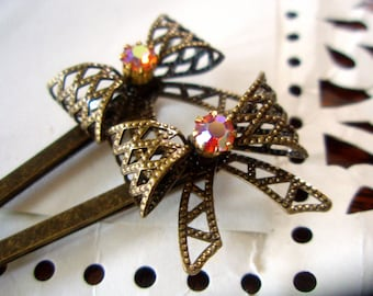 SALE - Hair Pins - Swarovski & Brass Bow Bobby Pins - Vintage-Style Boho-Chic Hair Accessories - Sparkly Iridescent Pink Crystal Pins