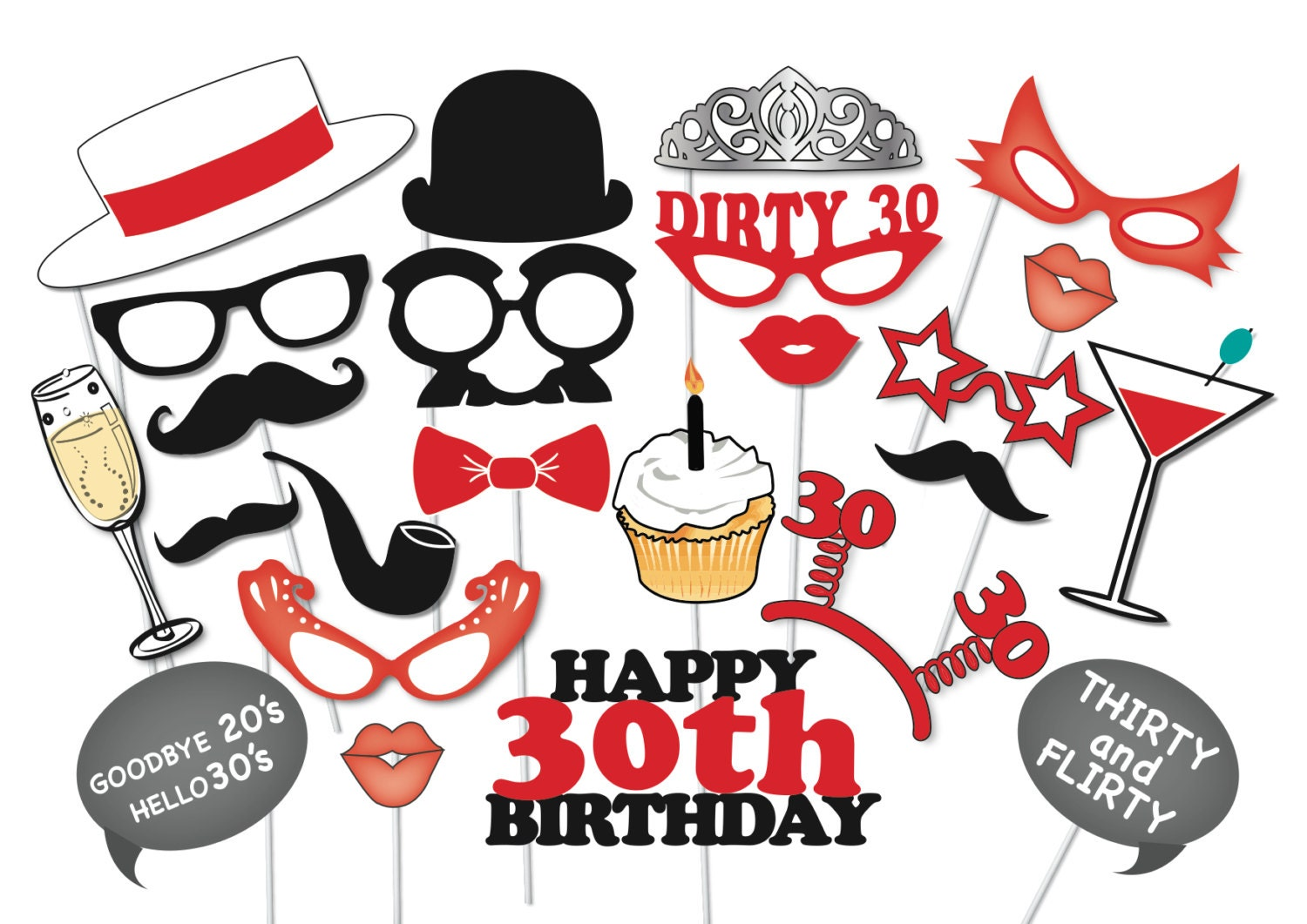 30th birthday photobooth party props set 26 piece printable rh etsy com happy 30th birthday clipart