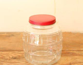 Large Vintage Glass Barrel Jar with Red Metal Lid Country Kitchen Display Decorating Prop Storage Organization Pantry