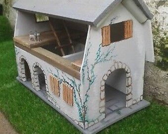 Hand crafted vintage style wooden toy barn