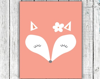 Girl's Nursery Wall Art Printable, Fox Face, Coral, Floral, Digital Download  #665