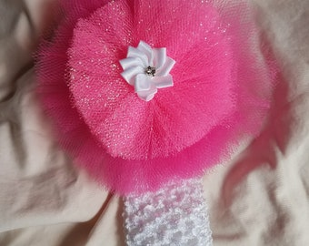 Tulle Flower Headband Pink White Crochet Flower Pearl