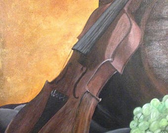 Still life original acrylic painting, 20x16 inch stretched canvas, violin, wine grapes nuts, wine barrel. Ready to hang Free Shipping