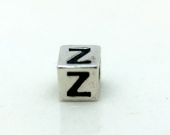 Sterling Silver Alphabet Z Block Cube Square Bead 4mm