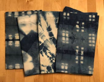 Set of Napkins - Dinner napkins, handmade, Indigo hand dyed