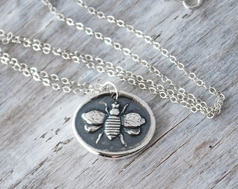Honey Bee Necklace -  Sterling Silver Chain -  Silver Honey Bee Wax Seal Pendant - Handcrafted Artisan Jewelry Bee Pendant