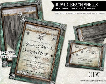 Rustic Beach Wedding Invitation and RSVP Card | Shells, Rustic Frames, Vintage Lace pearls. | DIY Invitation Beach destination wedding