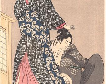 "Japanese Ukiyo-e Woodblock print, Utamaro, ""Beauty with young man"""