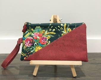 Cork and Fabric Wristlet with Card slots interior Green Raspberry Pink