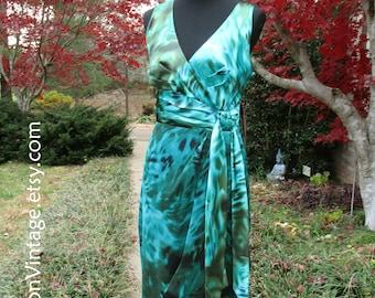 BOHO SILK DRESS, Vintage 90s Print Dress, Faux Wrap Style, Sleeveless Cocktail dress, blue-Green teal turquoise silk midi, Hippie Chic, NwT