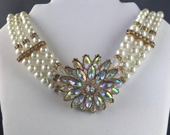Vintage Pearl Necklace, Vintage Pearl Choker, Vintage Pearl Multi Strand Necklace, 1920s Jewelry, Great Gatsby Jewelry