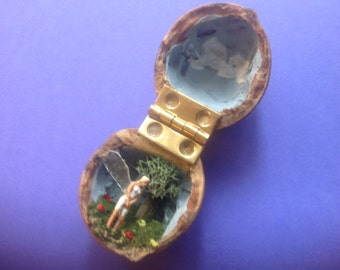 Miniature Fairy in Walnut Shell Folk Art Diorama