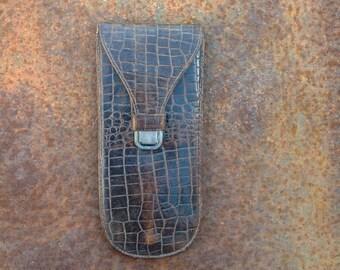 Vintage leather faux crocodile skin glasses case