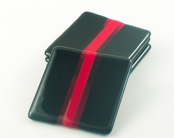 Fused Glass Coasters, Black and Red, Square Coasters, Home Bar Decor, Decorative Accents, Table Decorations, Unique Gifts for Men