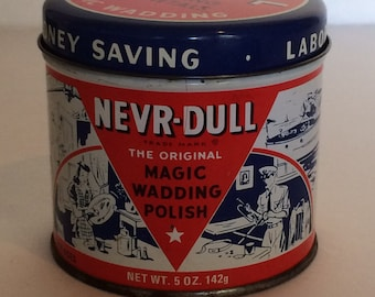Vintage Tin 1941 NEVR Dull The Original Magic Wadding Polish