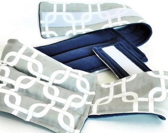 Lumbar Heating Pad with Belt, Microwave Rice Pack, Heat Bag Cold Pack, Lower Back Heat Wrap with Straps, grey geometric