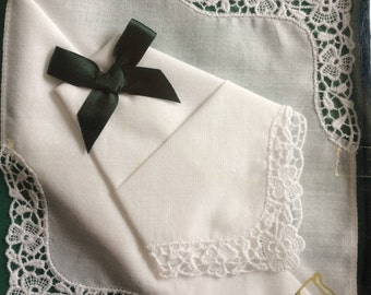 2 ladies lace cotton handkerchiefs from Ireland