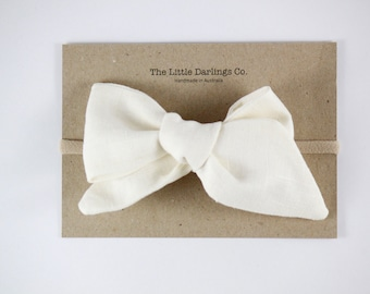 Hand Tied Hair Bow 100% Linen Large Pinwheel in Cream // Clip or Band