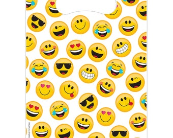 Emoji Treat Bags [8ct] Smiley Face Emoiticon Birthday Party Supplies Favors Loot