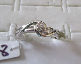 Silver ring 925 genuine real pure, with a small zirconium