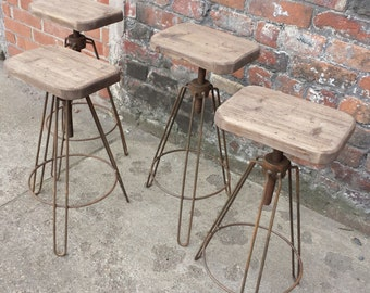 industrial hair pin leg stool adjustable height steel