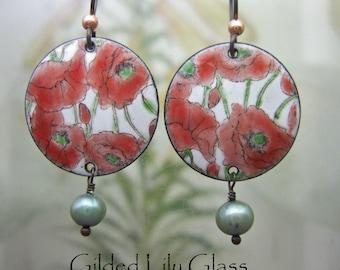 Valentine Poppy Enamel Earrings, Copper Enamel Jewelry Handmade in North Carolina