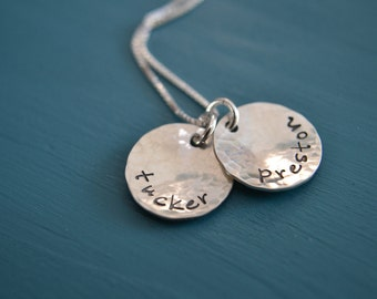 Personalized Stamped Sterling Silver Necklace Dearly Beloved
