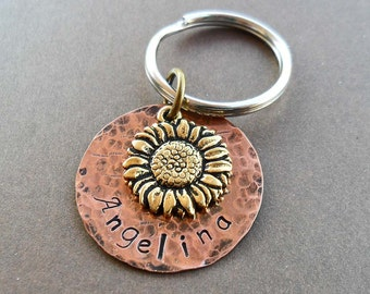Sunflower Keychain- Personalized Name Keychain - Custom Name- Sunflower Gift -Rustic Wedding Gift Sunflower Key Holder - K 1