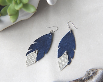 Leather Feather Statement Earrings - Blue & White with Gray Pattern