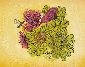 "Woodcut Print ""Nectar"""