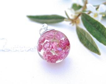 Australian wildflower. Real flower jewellery. Real flower jewelry, Pink flower necklace, Botanical necklace. Gift for her.  By OCEAN PETALS